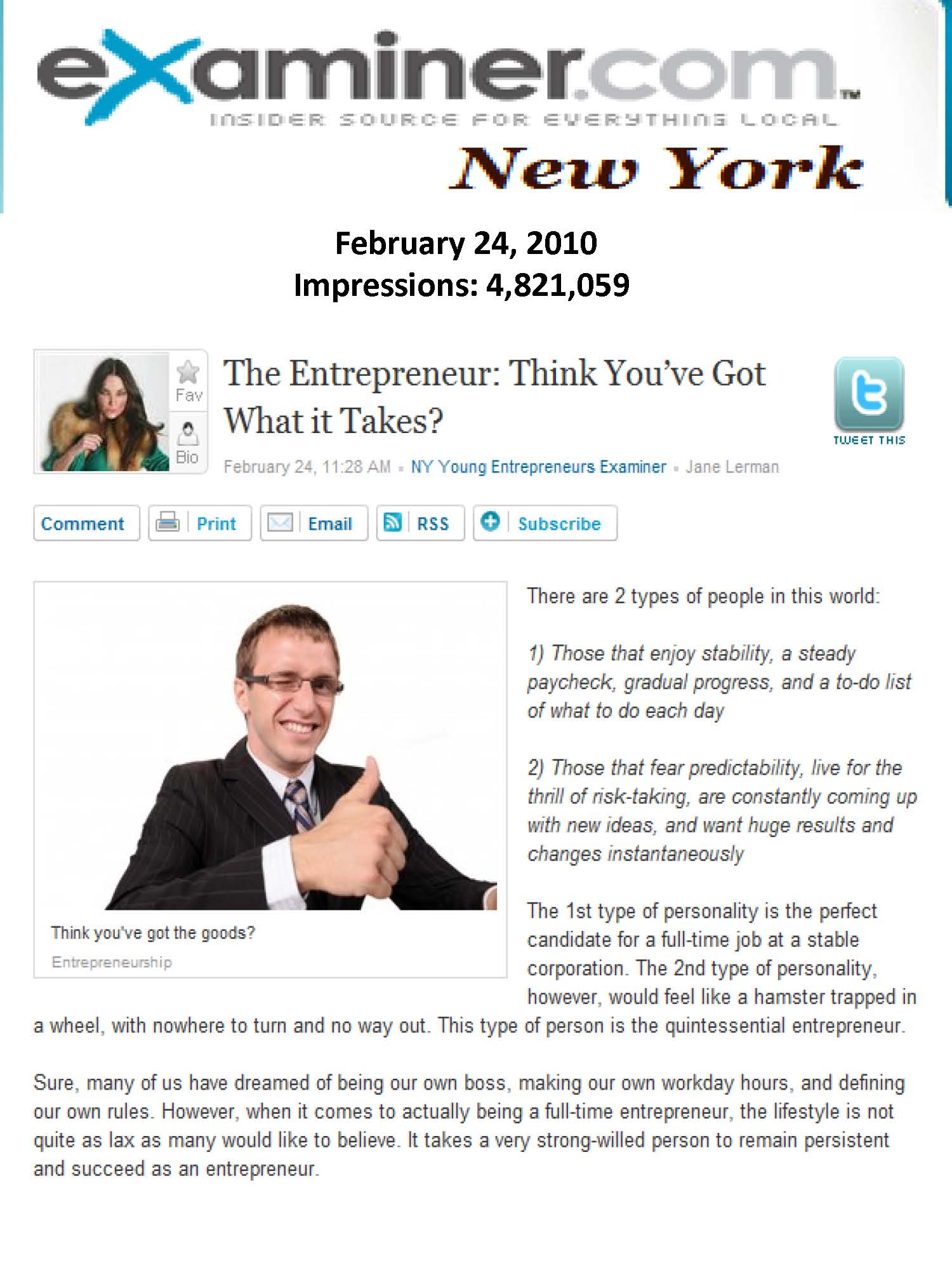 So You Want to Be an Entrepreneur? Tips from NYC PR Firm L.E.R. PR on Examiner.com