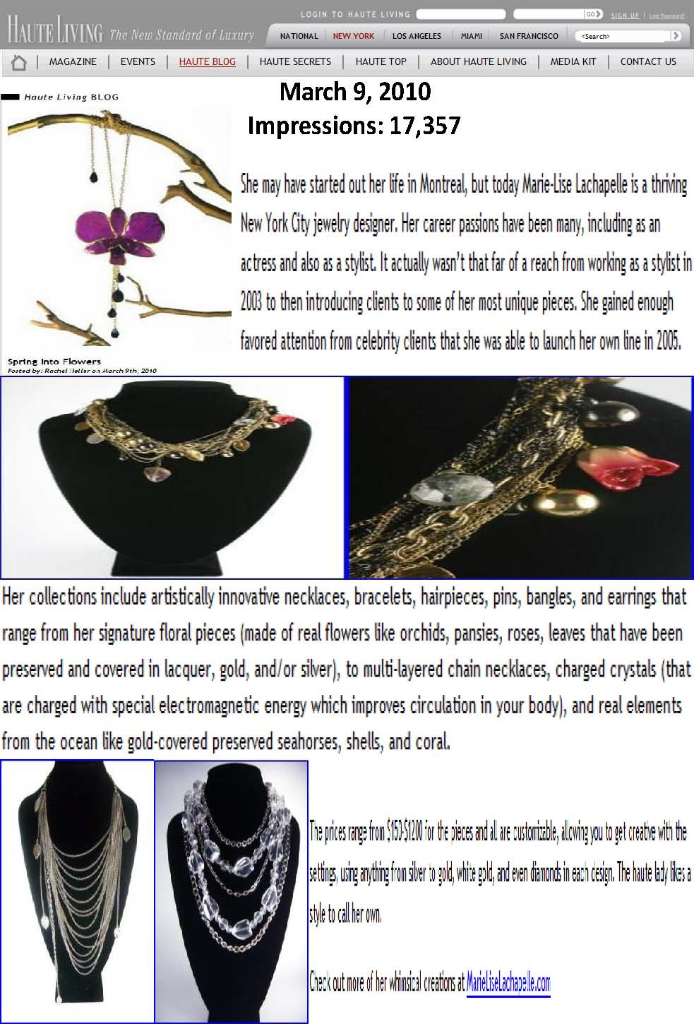 Marie-Lise Lachapelle's Jewelry Featured in Haute Living: Spring Into Flowers (Fashion PR)