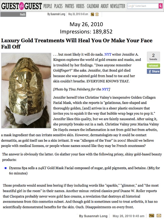 Dyanna Spa's Gold Facial Mask featured on Guest Of A Guest! (Beauty PR)