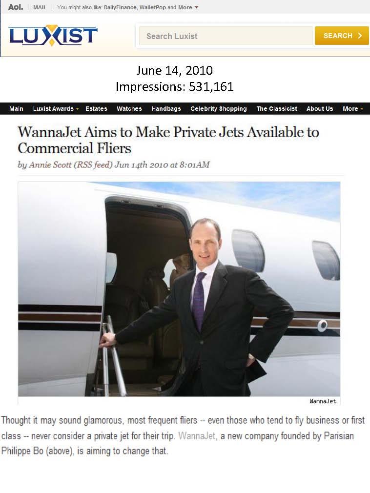 Interview with Phillipe Bo of WannaJet on Luxist (Luxury Travel PR)