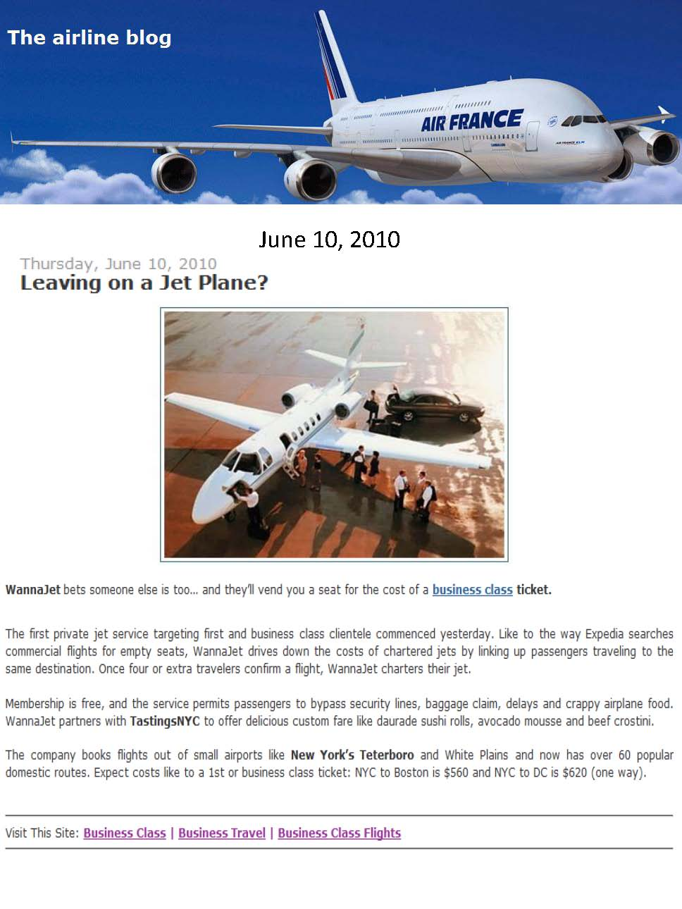 WannaJet Featured in The Airline Blog (Travel PR)
