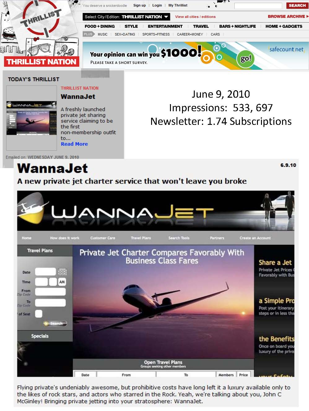 WannaJet Launches TODAY in New York: First Media Debut on Thrillist! (Travel PR)