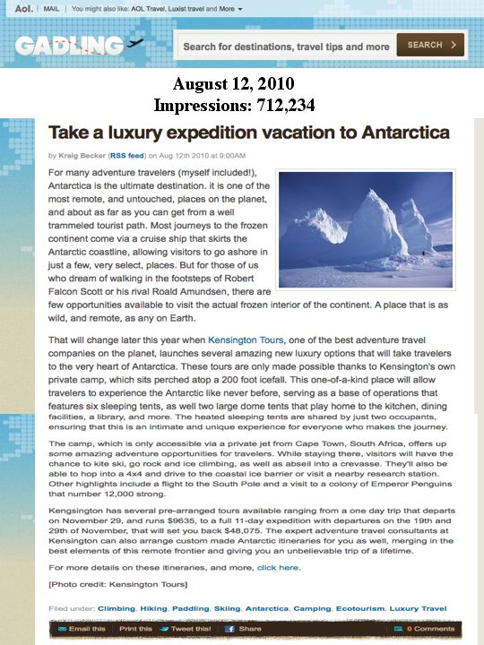 KT Antarctica on AOL's Gadling.com! (Travel PR)