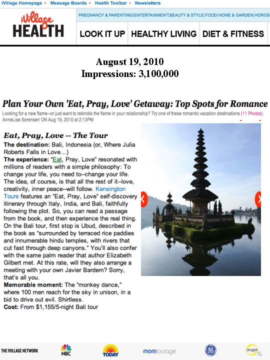 Effect of Film on Travel Public Relations! KT's Eat, Pray, Love Tour Generates Major Buzz