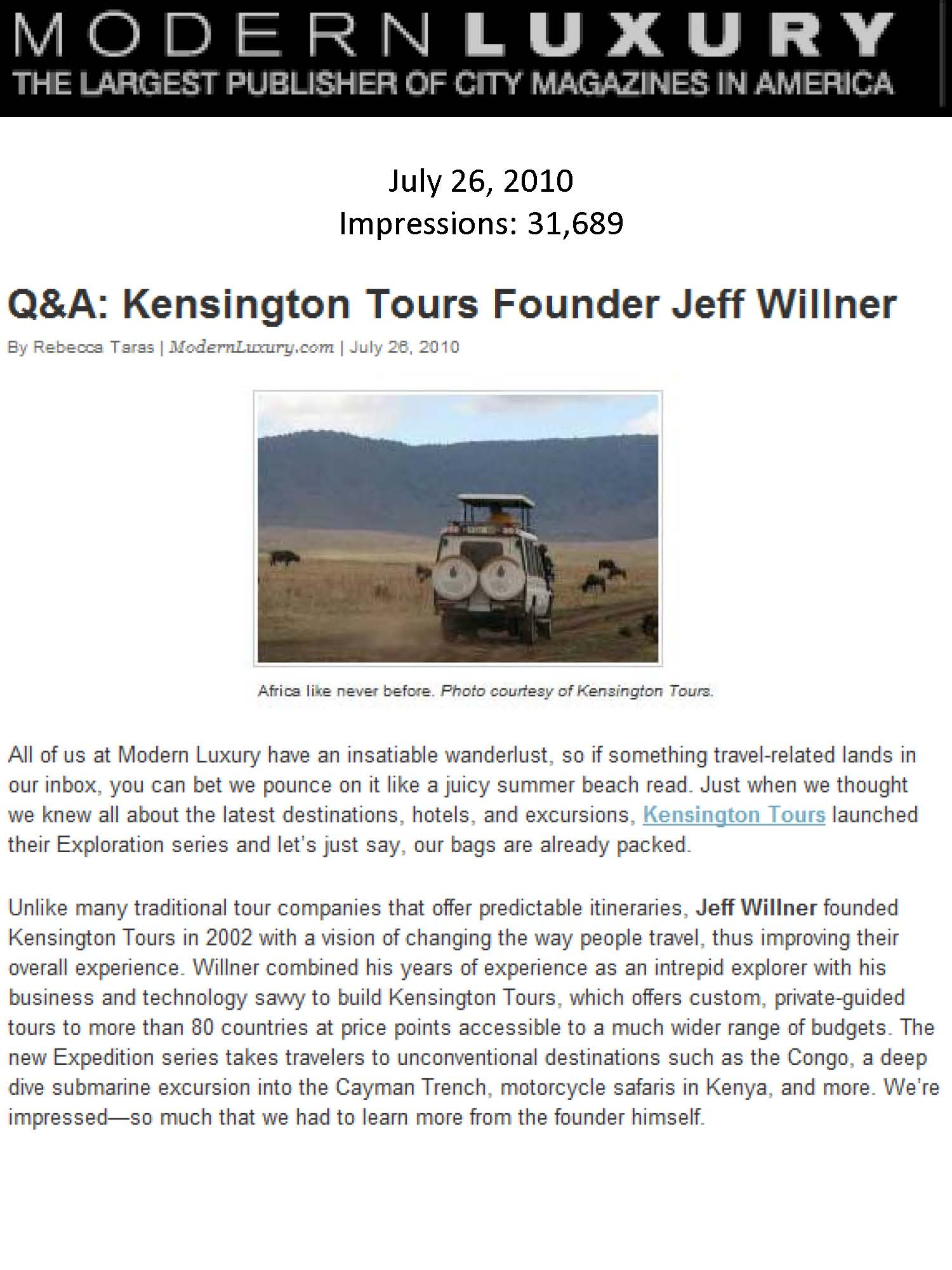 KT's Expedition Series on ModernLuxury.com