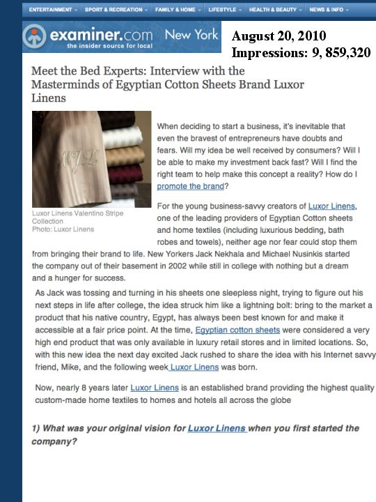 Luxury Lifestyle PR: Luxor Linens Egyptian Cotton Sheets on New York Examiner.com