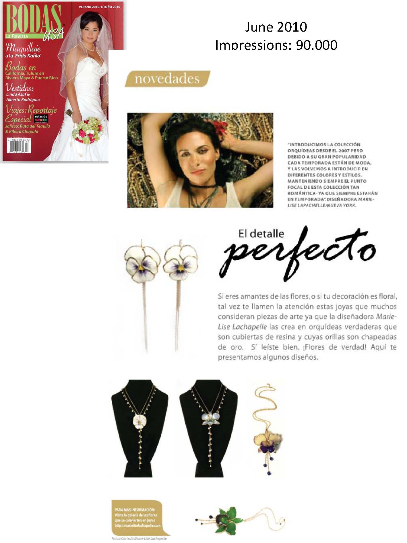 Marie-Lise Lachapelle's Gorgeous Jewelry Receives a 1-Page Spread in Bodas USA Bridal Magazine (Fashion PR)