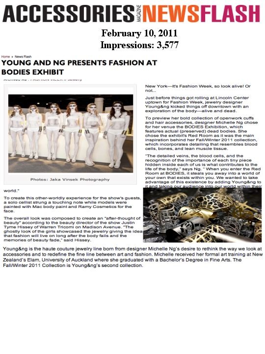Young&Ng Jewelry Presentation At BODIES Featured in Accessories Magazine (Fashion PR)