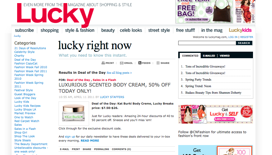 Lucky Mag Features KB Body Cream as Deal of the Day
