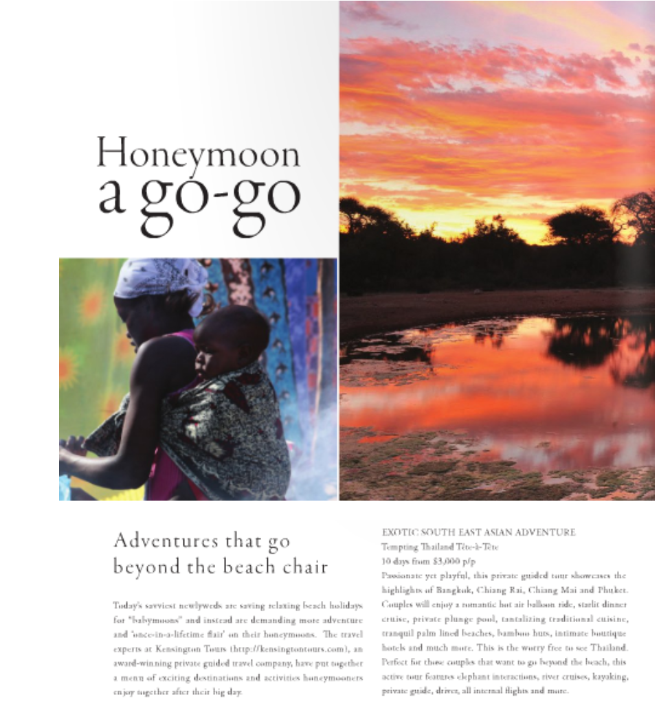 Sophisticated Living Features Kensington's 'Adventurous' Honeymoon Packages in Summer 2011 issue (Travel PR)
