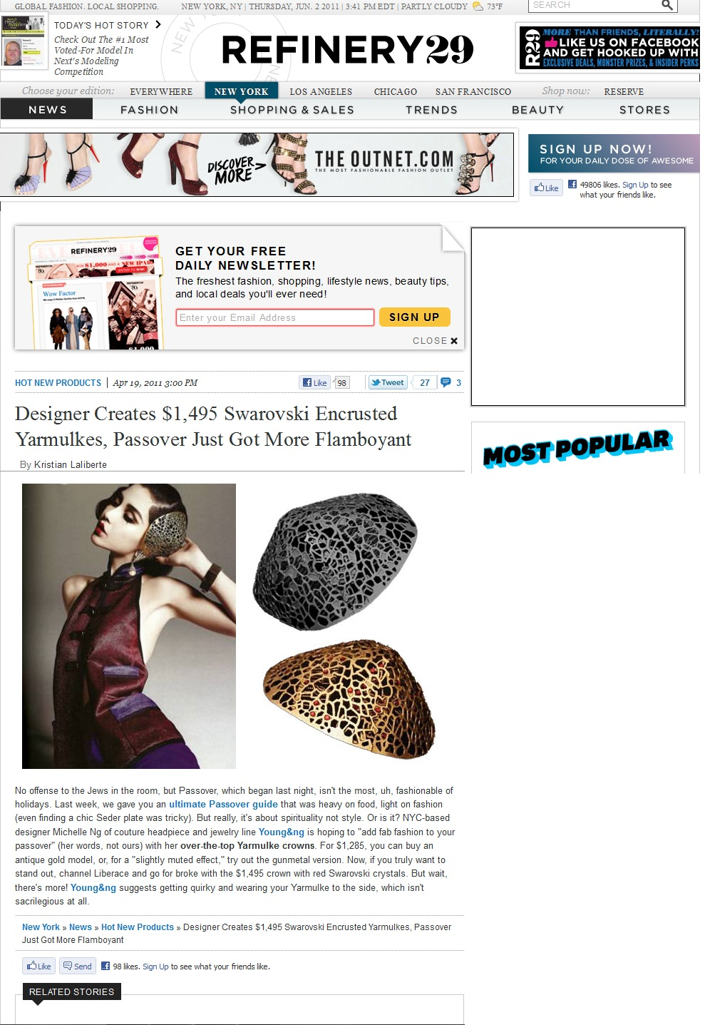 Young&ng's Swarvoski Encrusted Yarmulkes Featured on Refinery 29 (Fashion PR)