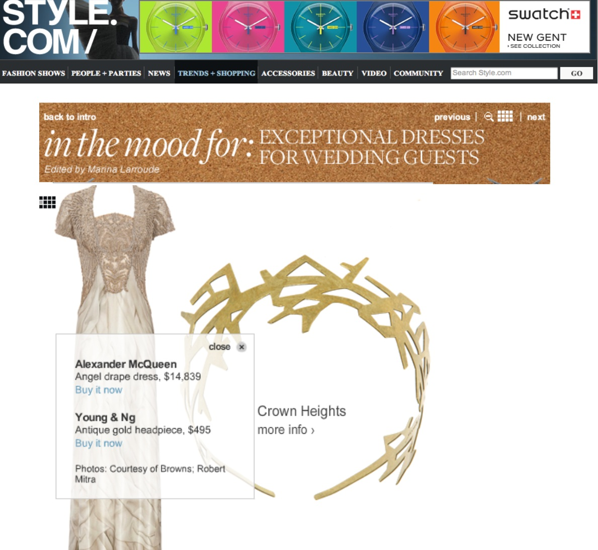Style.com Features Young&ng Headpiece Paired with Alexander McQueen Dress