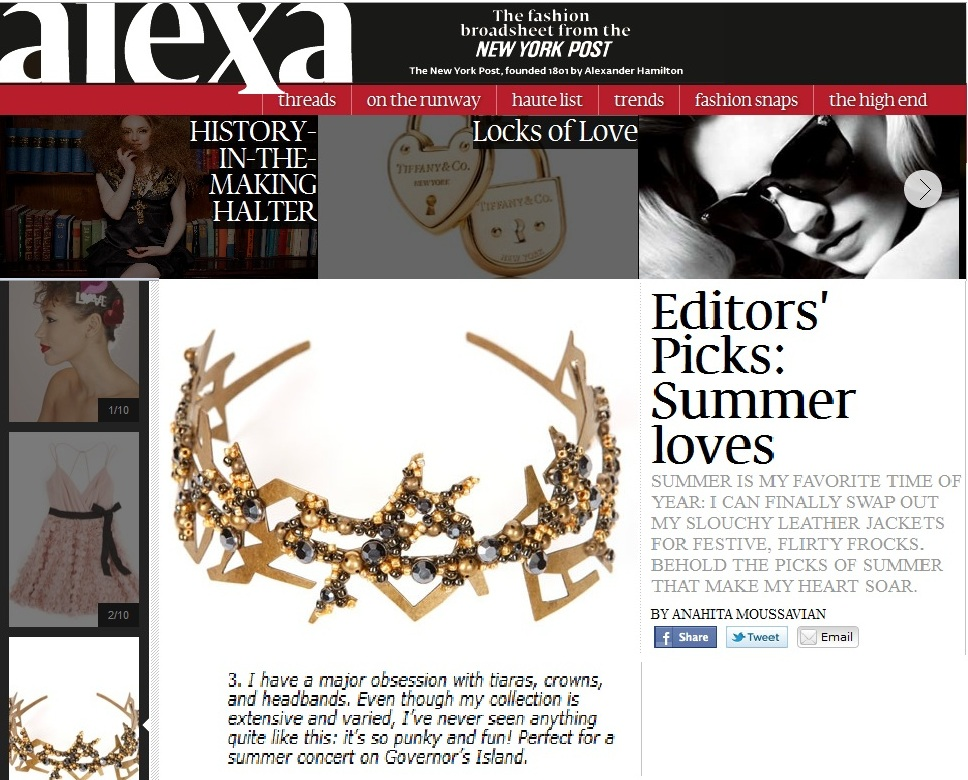 Young&ng Jewelry Featured in New York Post's Summer Must-Haves for 2011!