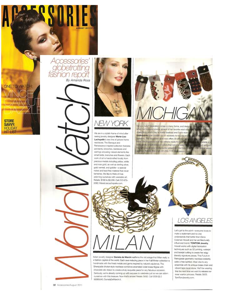 Marie-Lise Lachapelle featured in Accessories magazine