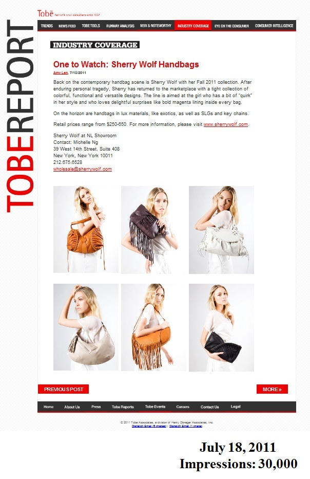 Sherry Wolf featured in Tobe Report as 'One to Watch'