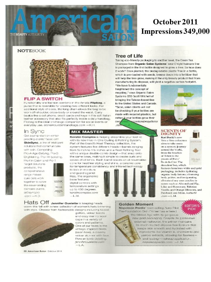 KB's Tete a Tete Collection in American Salon's October 2011 Issue