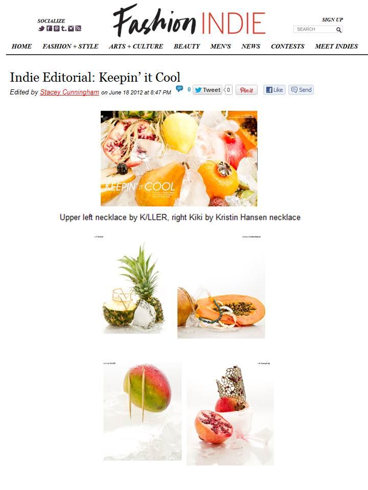 Kristin Hanson featured on Fashion Indie