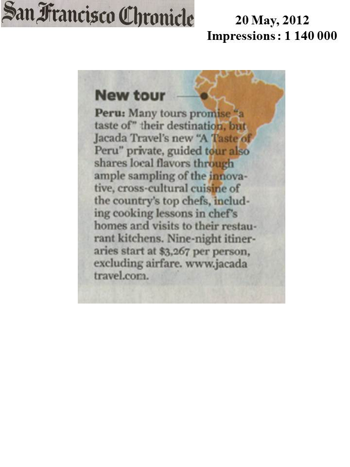Jacada Tours Featured in the San Francisco Chronicle's Globetrotter Section