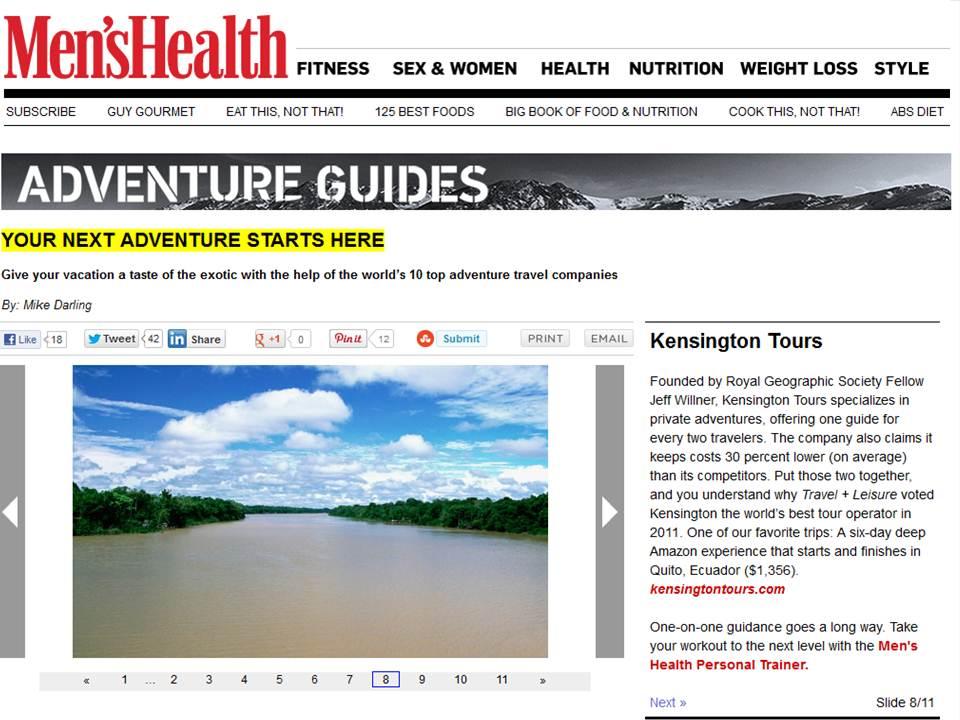 Kensington Tours on Men's Health Online