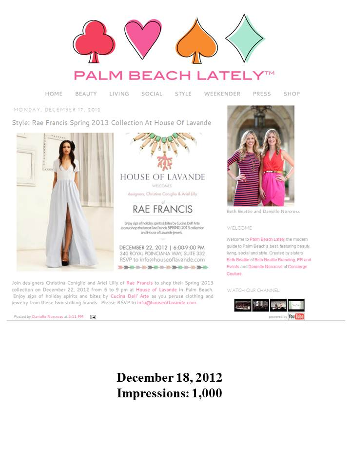 Rae Francis Featured in Palm Beach Daily News!