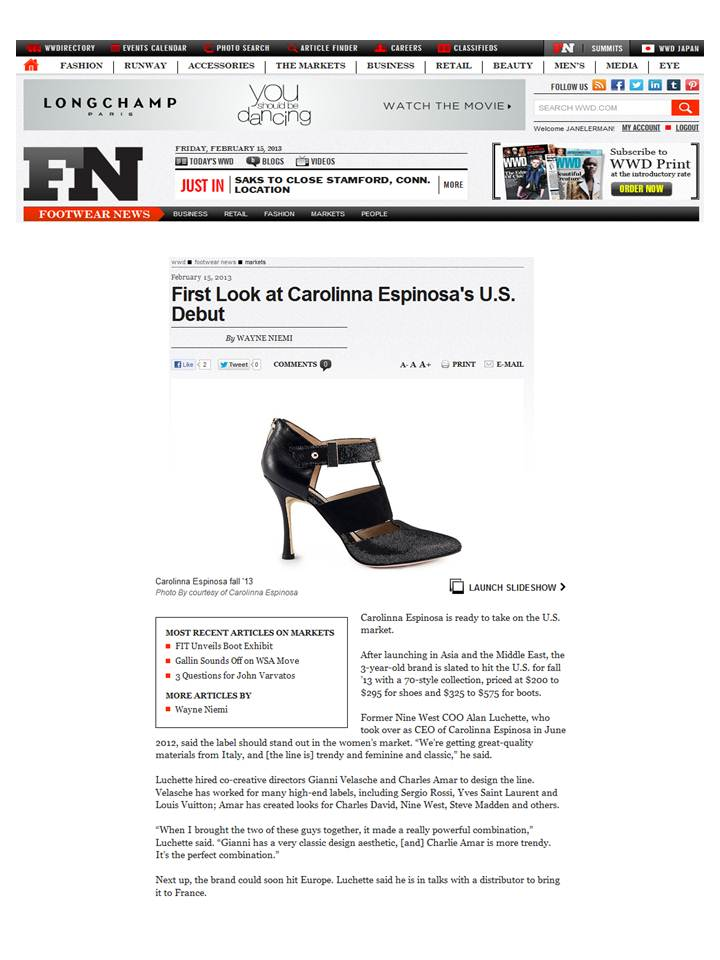 WWD Footwear News - Carolinna Espinosa