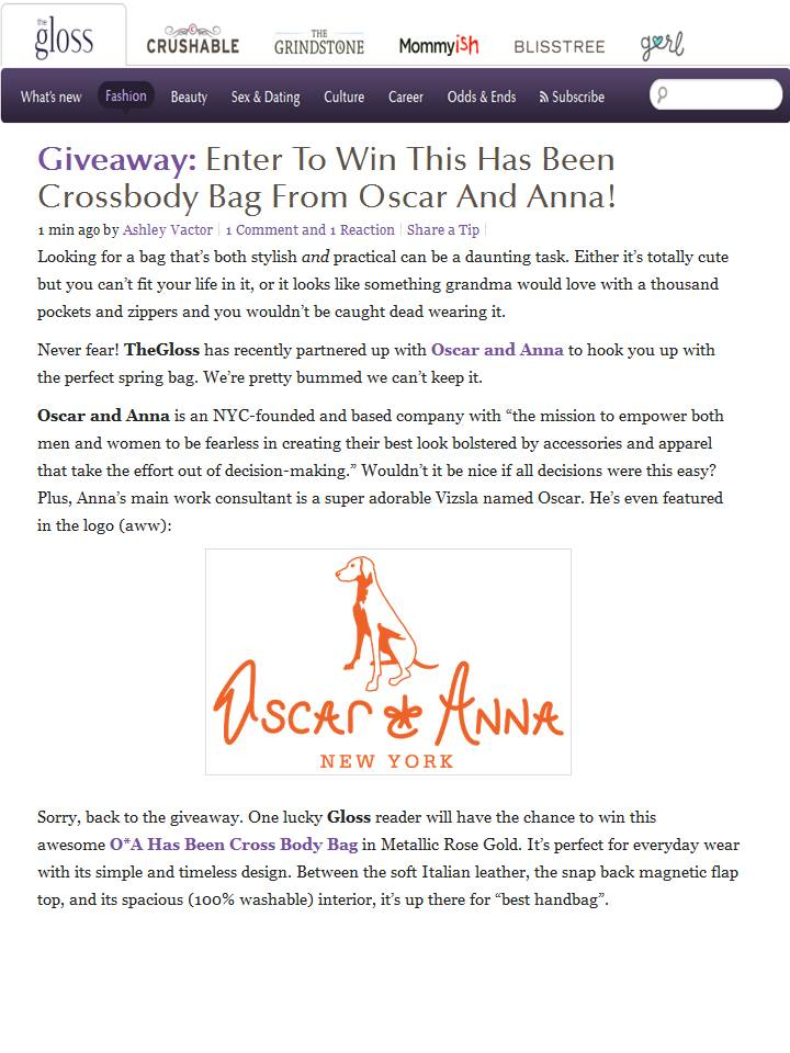 Oscar and Anna Handbag Giveaway on TheGloss.com