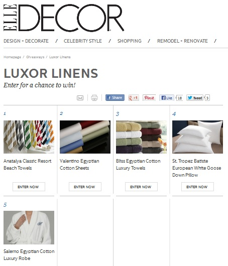 Luxor Linens on ELLE DECOR