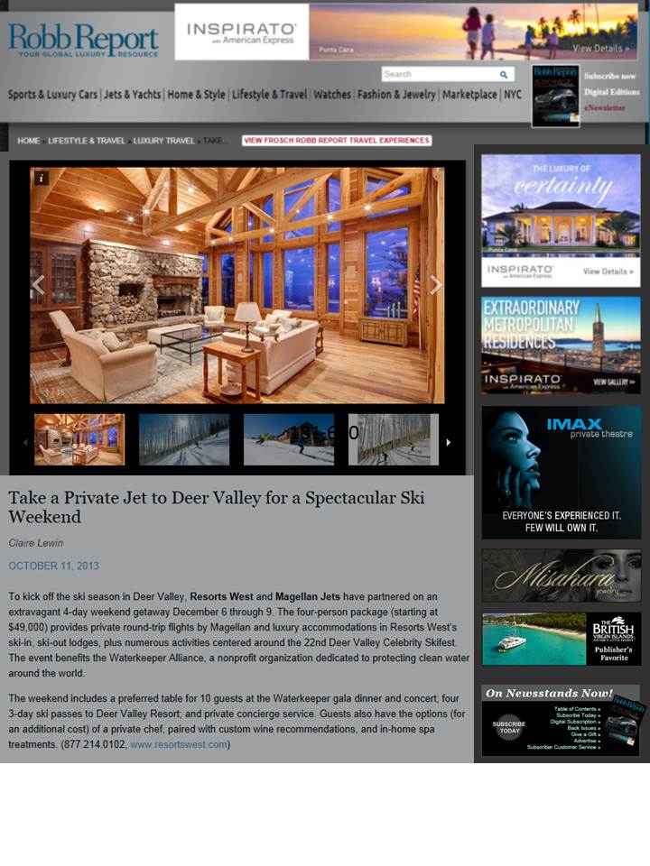 Resorts West Featured on RobbReport.com