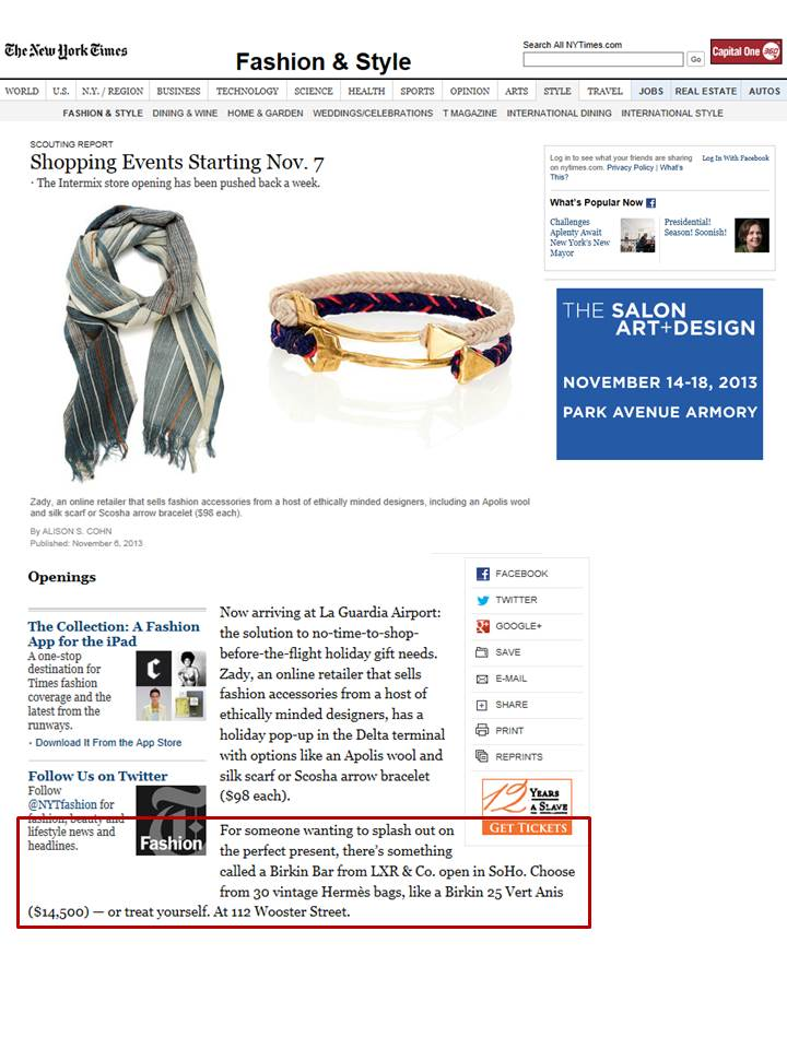 "The New York Times Highlights LXR & Co in ""Shopping Events Starting Nov. 7"""