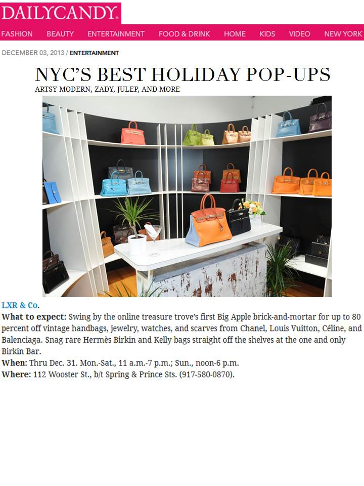 "DailyCandy.com highlights LXR & Co in ""NYC's Best Holiday Pop-Ups"""