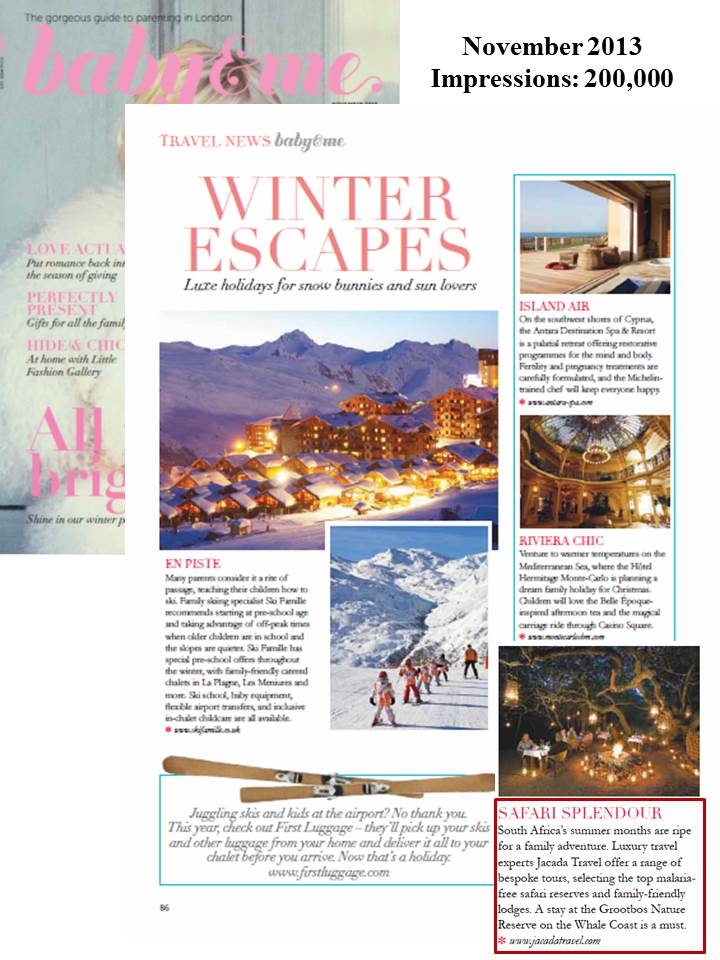 "Baby&Me Magazine highlights Jacada Travel in ""Winter Escapes"""