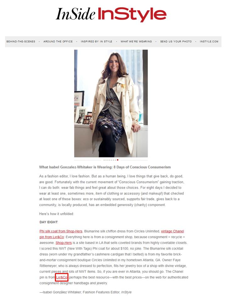 LXR & Co featured on Instyle Magazine.com