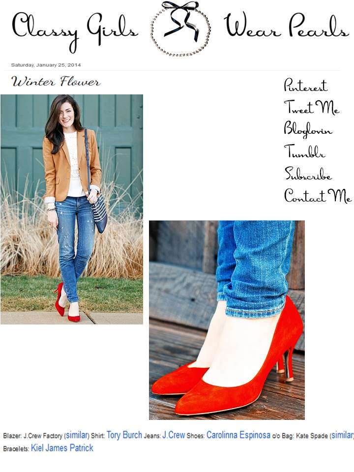 "Carolinna Espinosa Red Leila Pump on ""Classy Girls Wear Pearls"""
