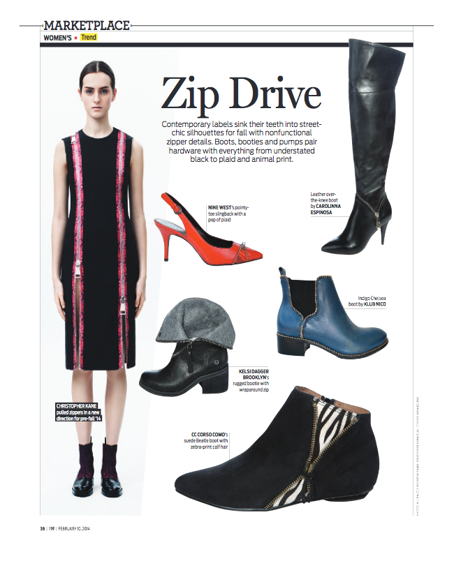Carolina Espinosa Over-the-knee boots featured by Footwear News Magazine, February 10, 2014