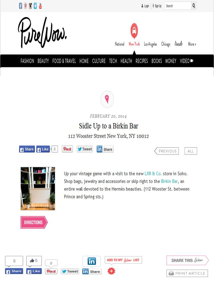 LXR & Co featured on PureWow